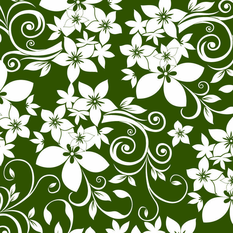 White Green Floral Ornament Pattern Background