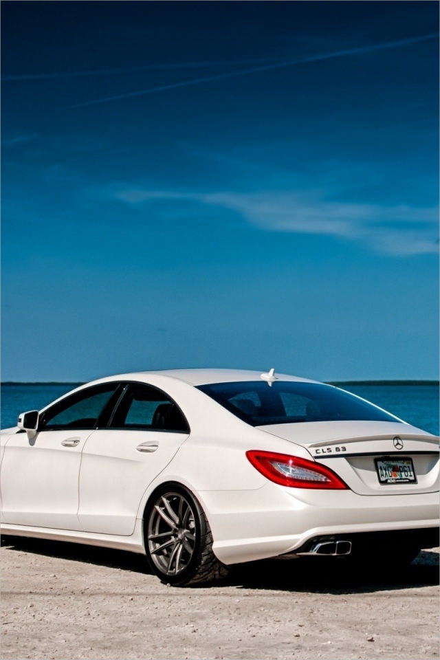 White Mercedes on Blue Background For iPhone