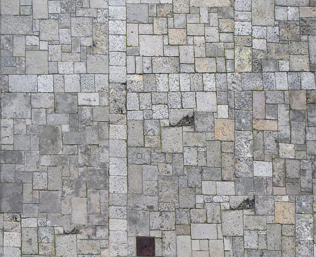White Stone Blocks Concrete Floor
