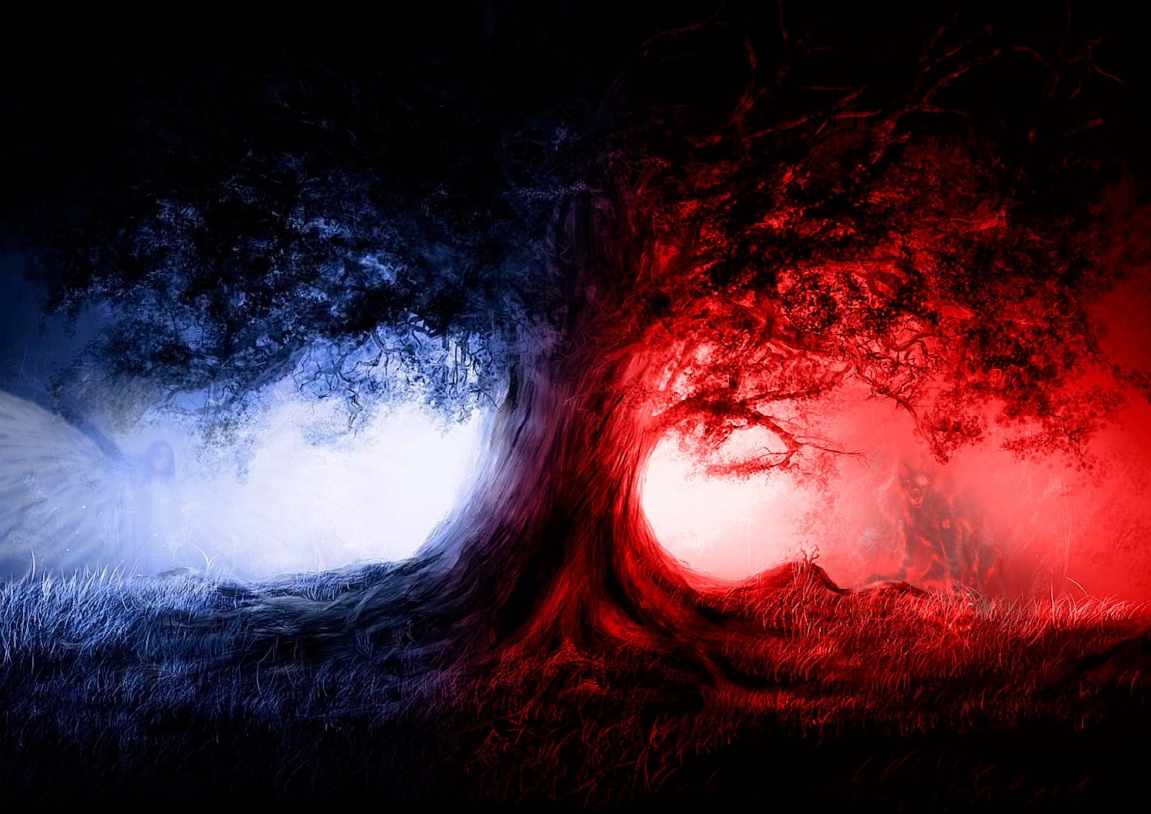 Wolves Angel Red & Blue Background