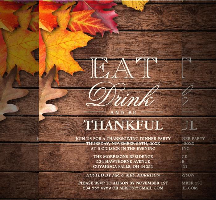 Wood Autumn Thanksgiving Invitation