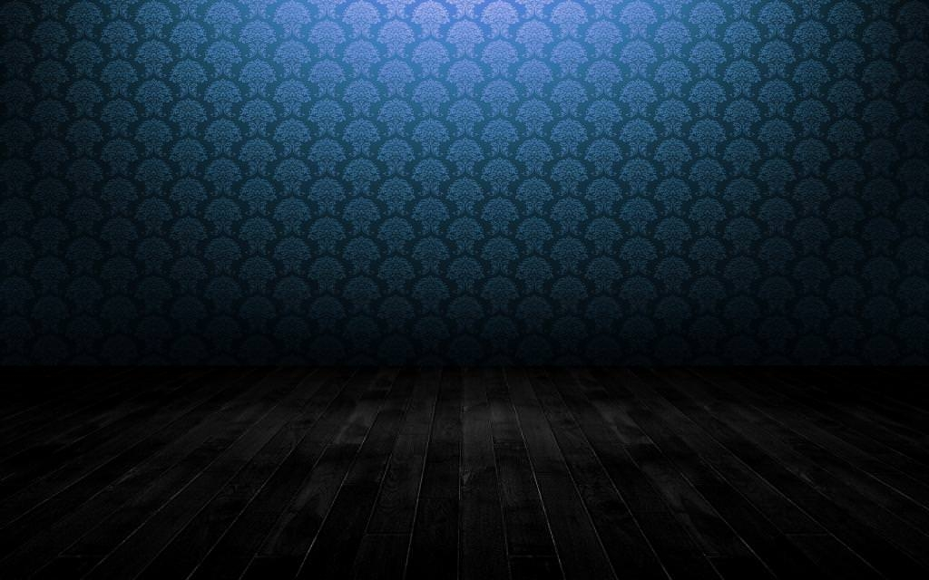 Wood Floor Background Wallpaper with Blue Wall Pattern
