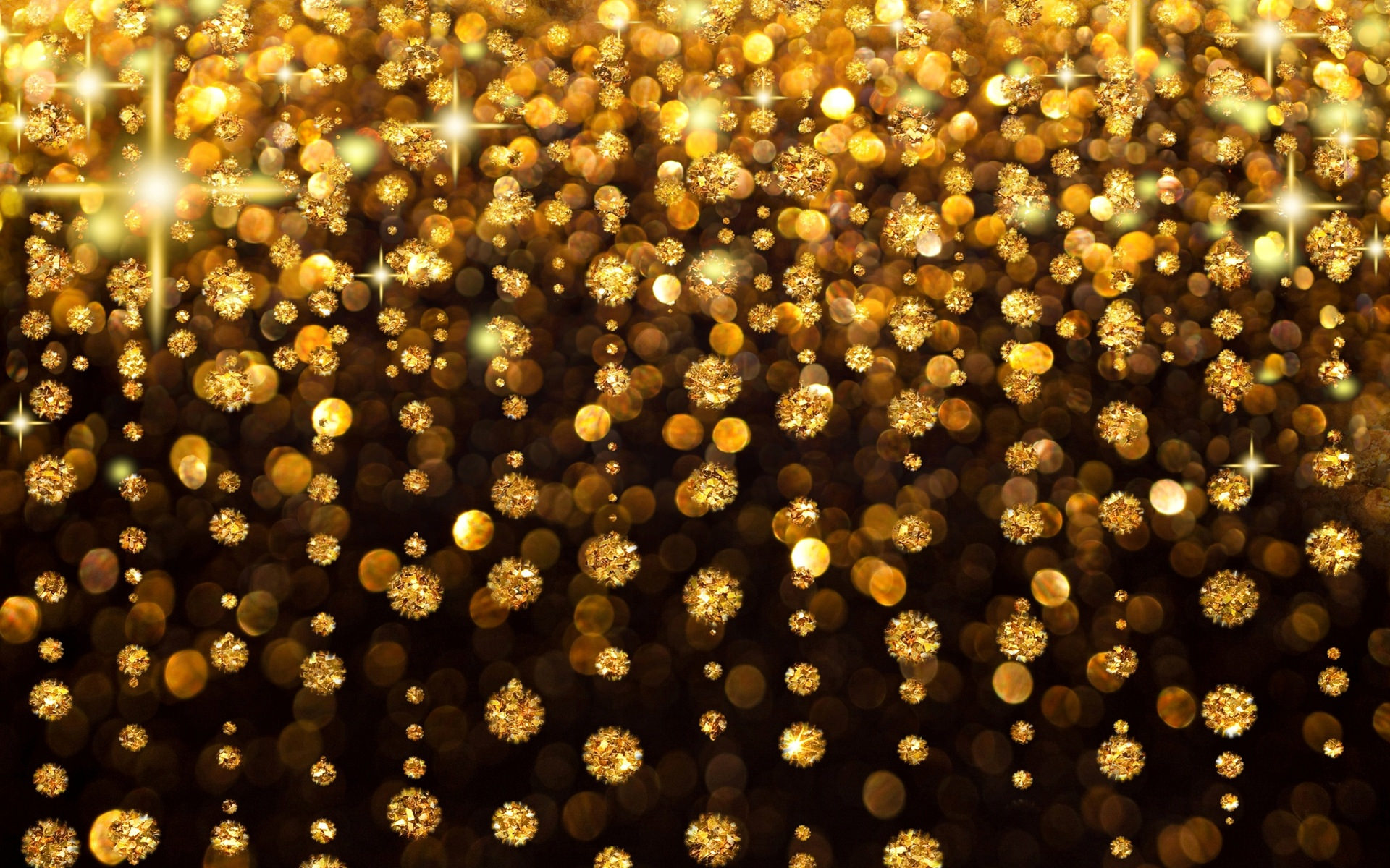 Yellow Sparkles Bokeh Background
