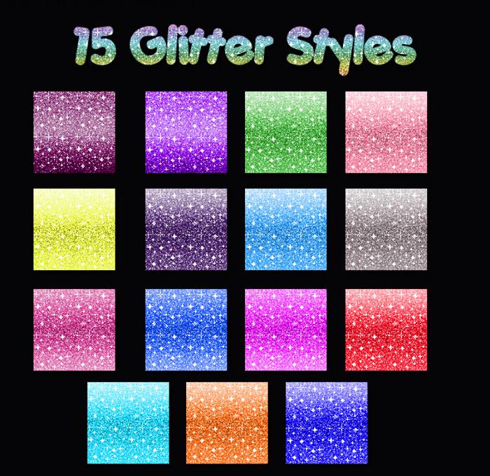 15 Glitter Styles Pattern Set