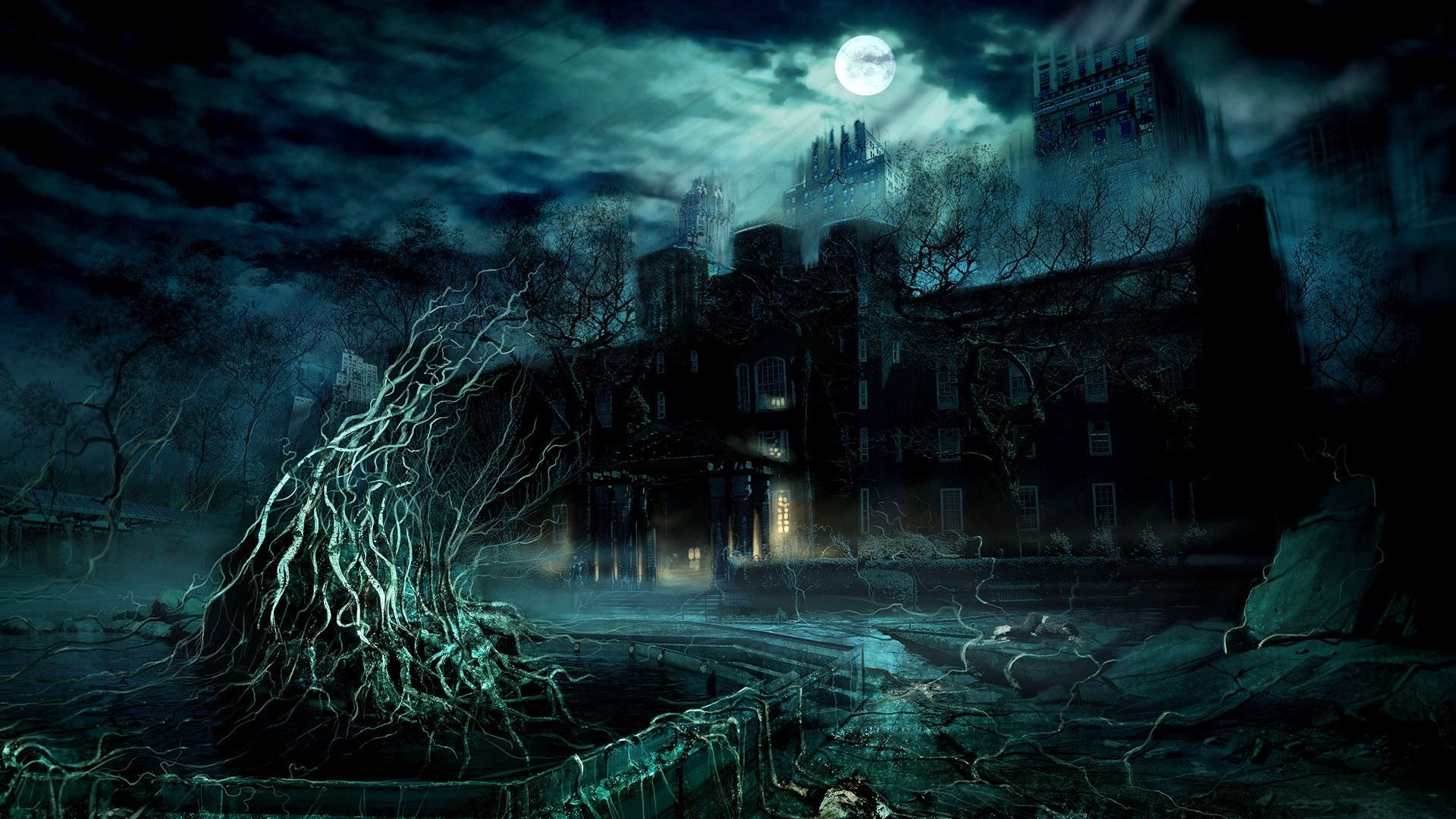 Scary Dark Castle Background