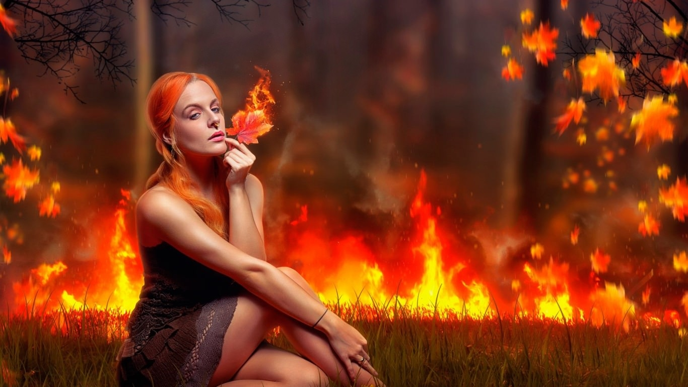 Fantasy Girl Playing With Fire Wallpaper