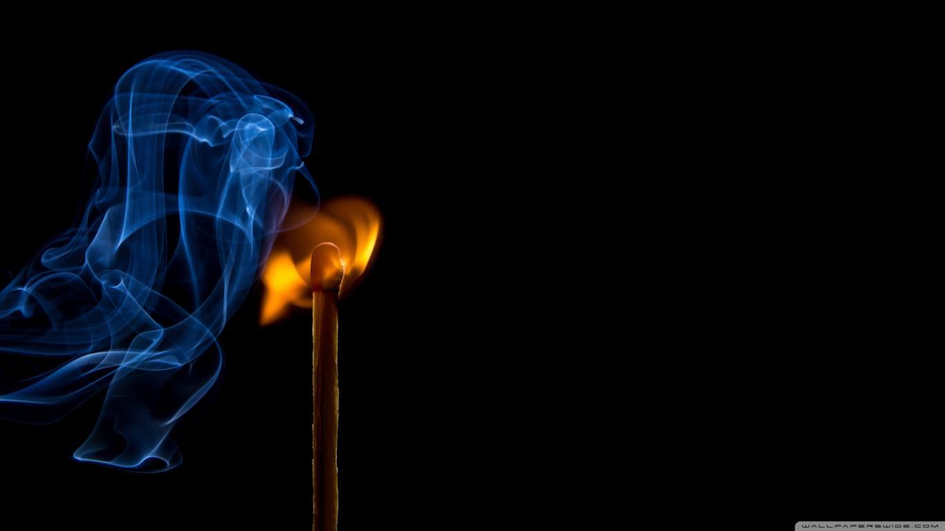 Burning Match with Smoke Wallpaper