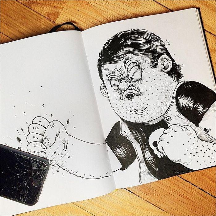 Funny Angry kid Drawing
