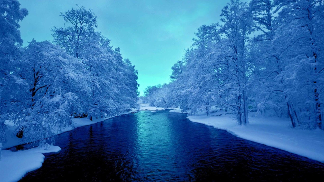 Cold Blue Winter River Wallpaper