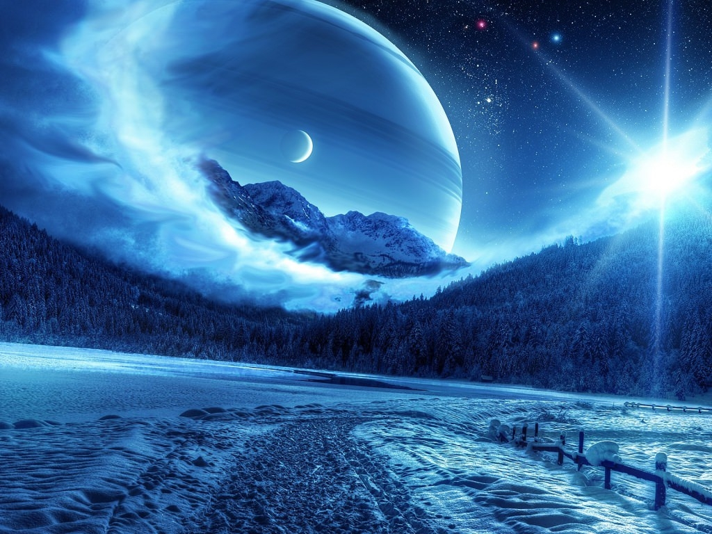 Winter Night Planet Landscape Wallpaper