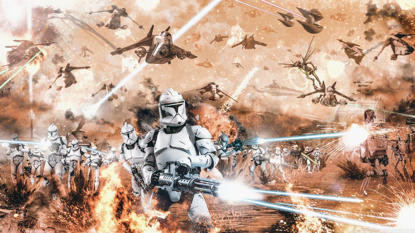 Battle of Geonosis Star Wars Wallpaper