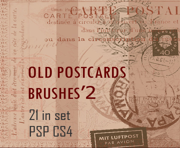 21 free old postcard brushes