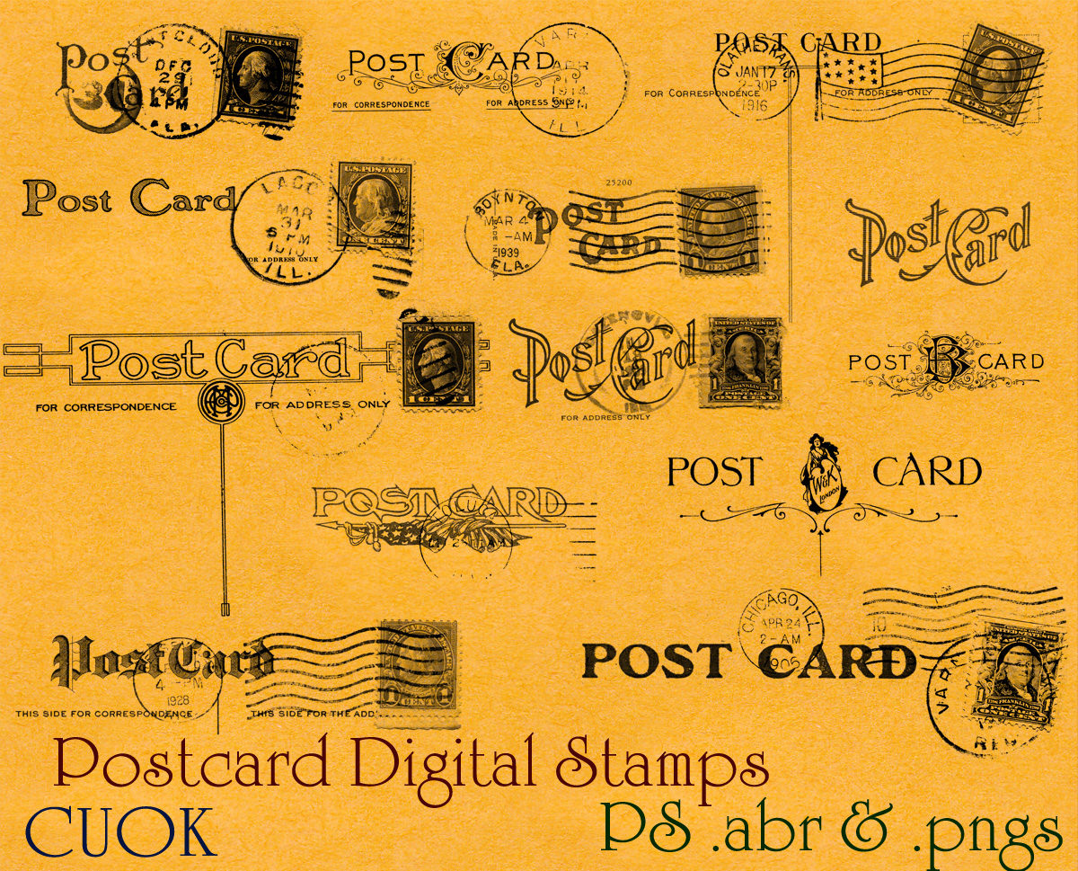 vintage postcard backs photoshop brushes