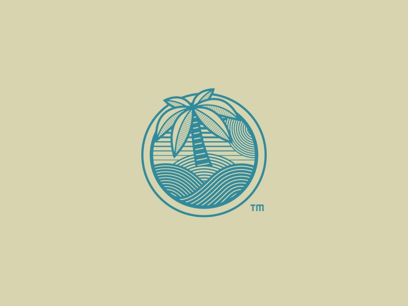Private Island Palm Tree Logo