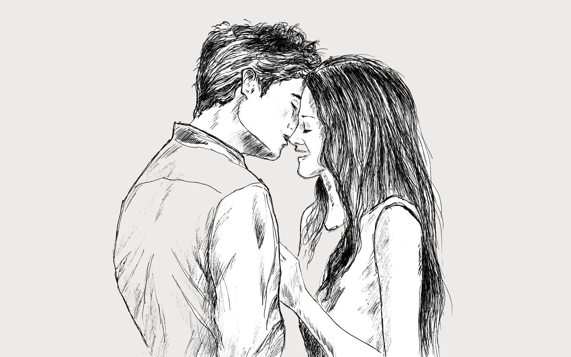 Sweet kiss smile love drawing
