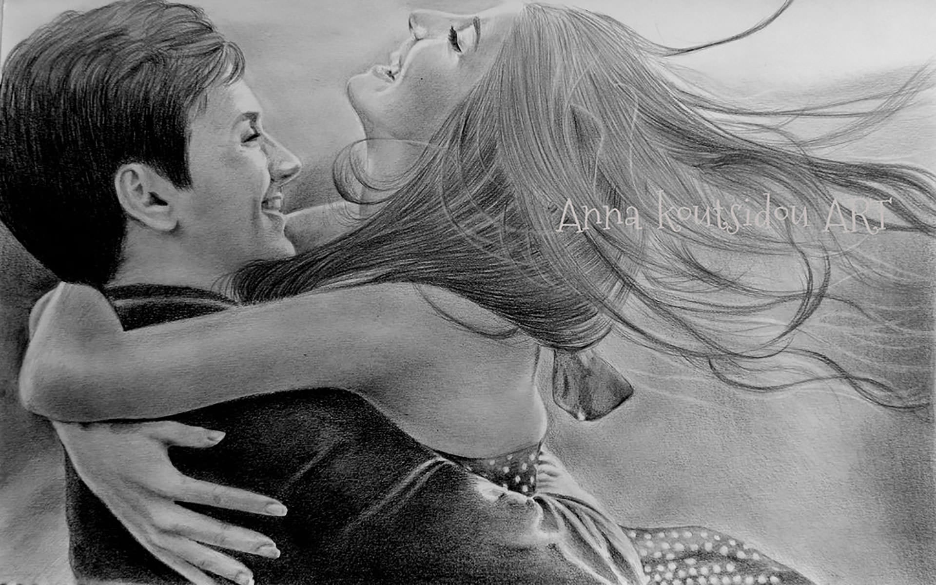 Romance of cute couple love drawing