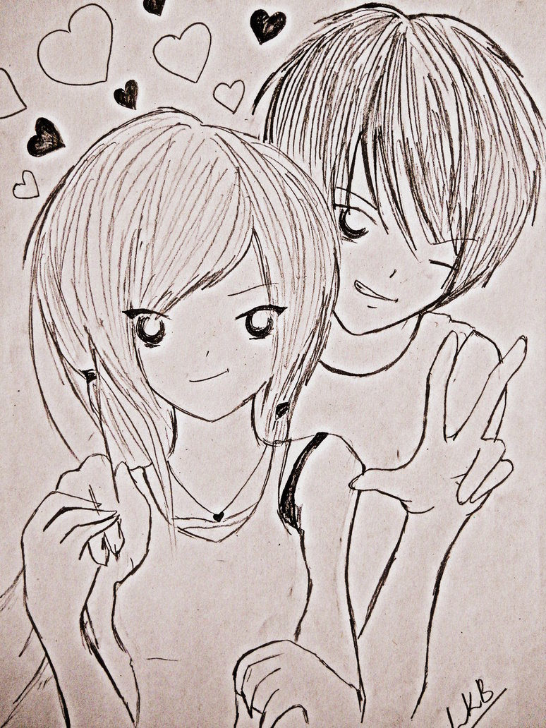 Cute love couple drawing for free