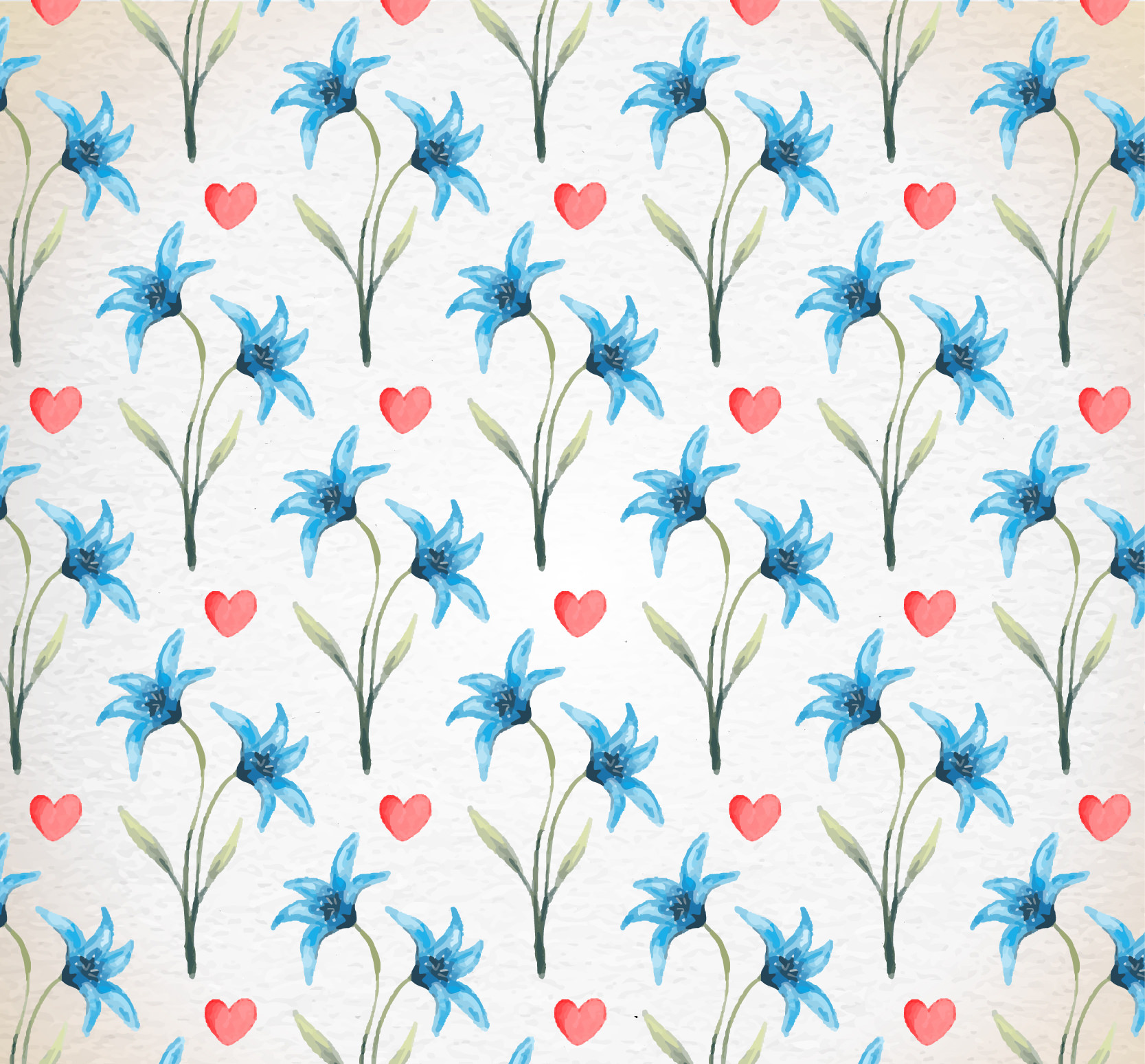 Floral Valentine Day Watercolor Pattern