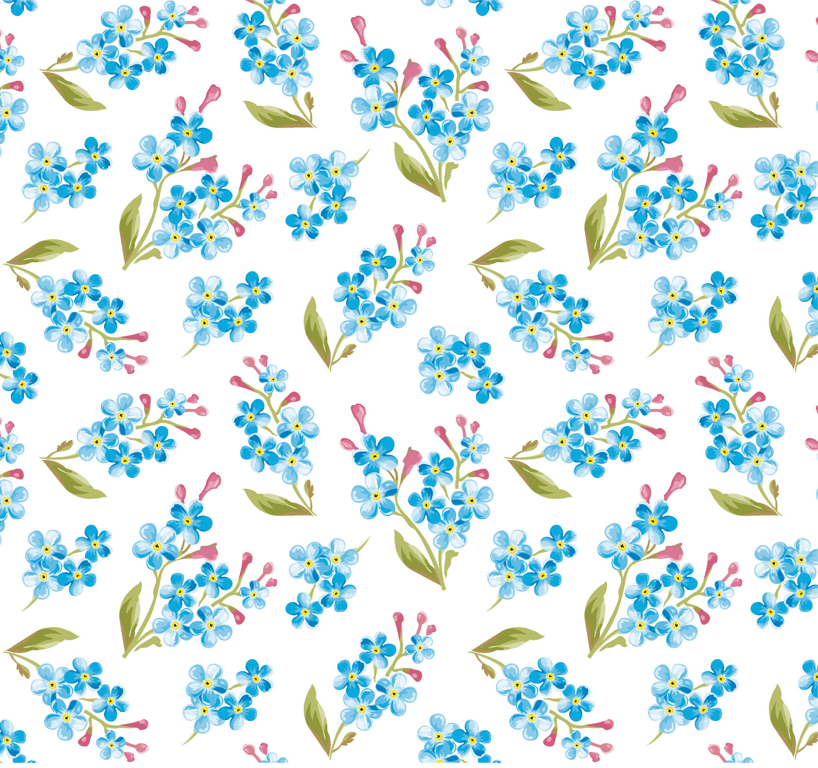 Watercolor Blue Flowers Pattern