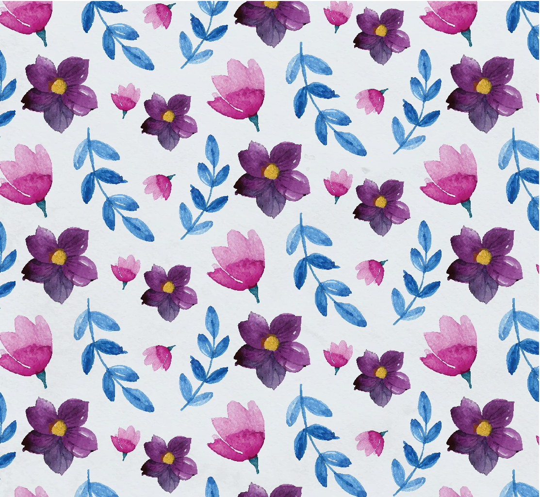 Blue and Purple Watercolor Floral Pattern