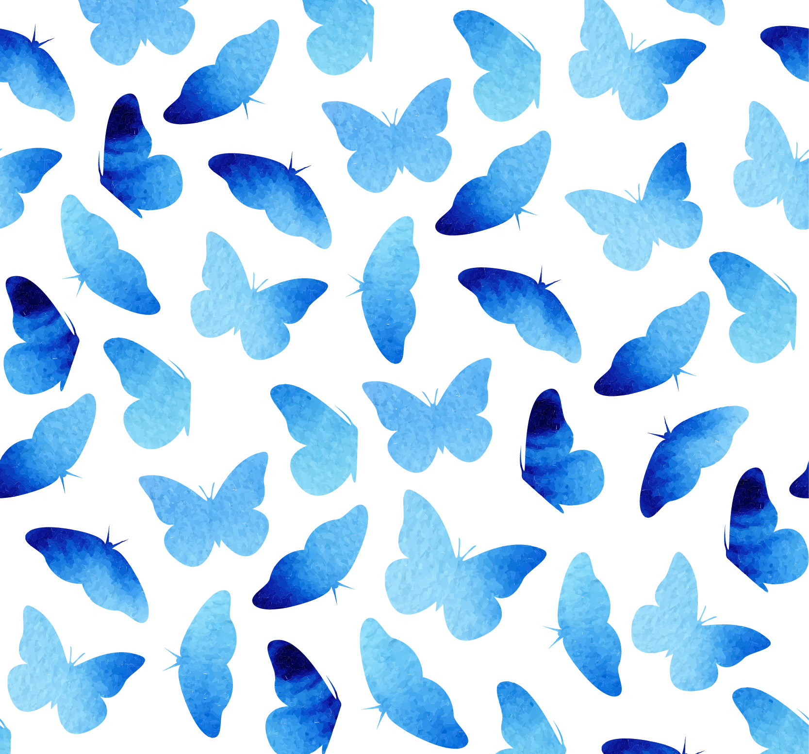 Blue Watercolor Hand Painted Butterflies Pattern