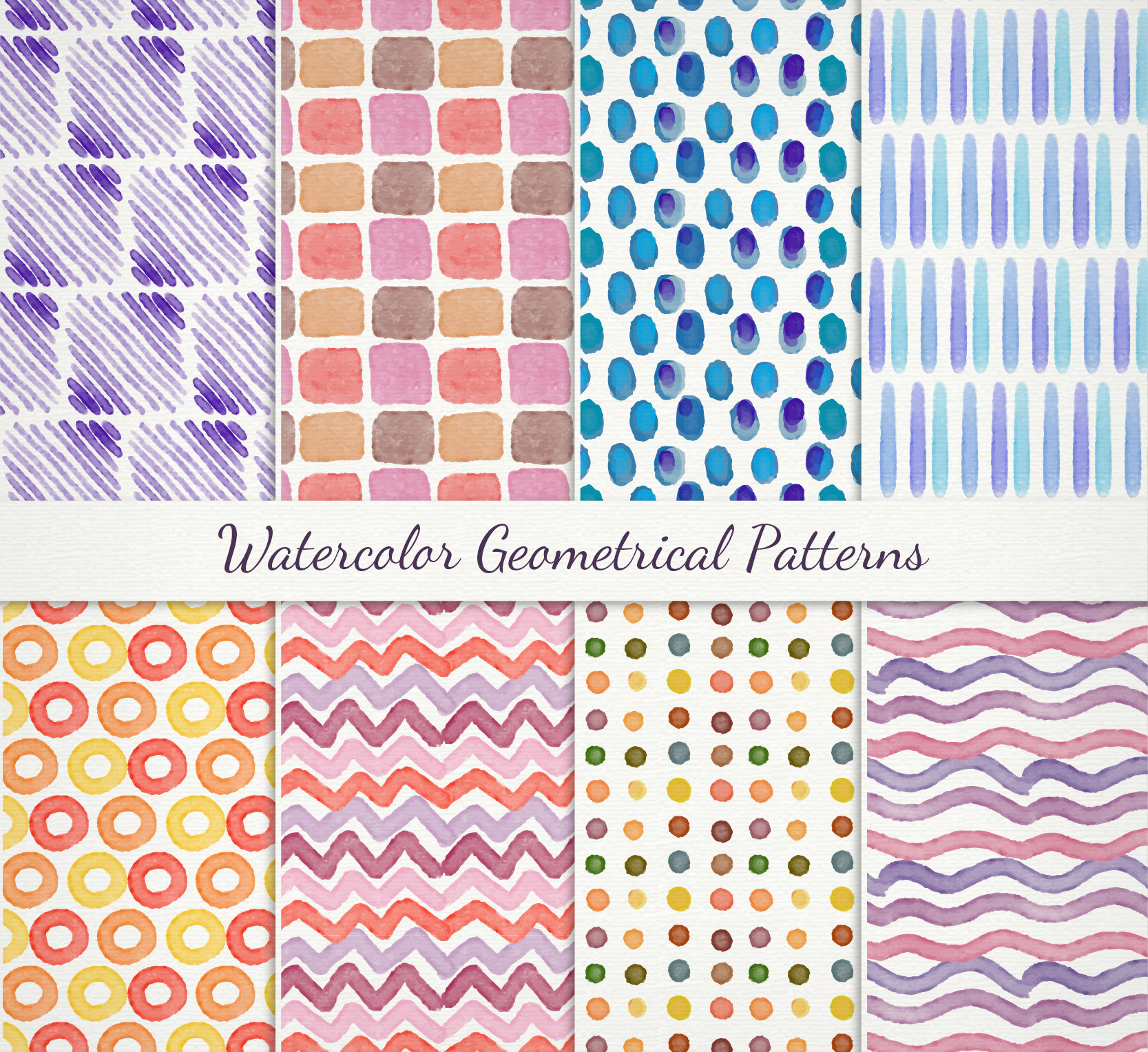 Free Vector Watercolor Geometrical Patterns