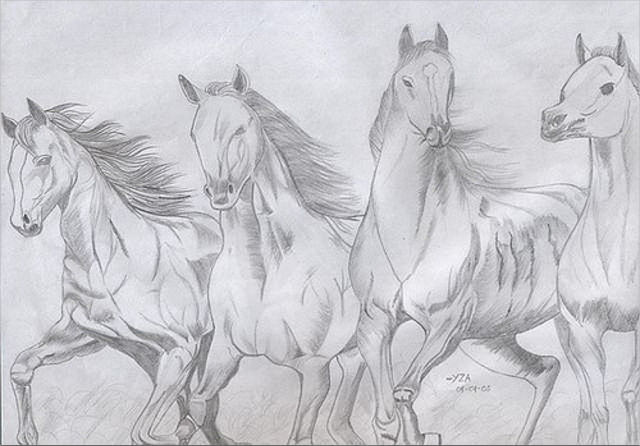 Awesome Running Horses Drawing