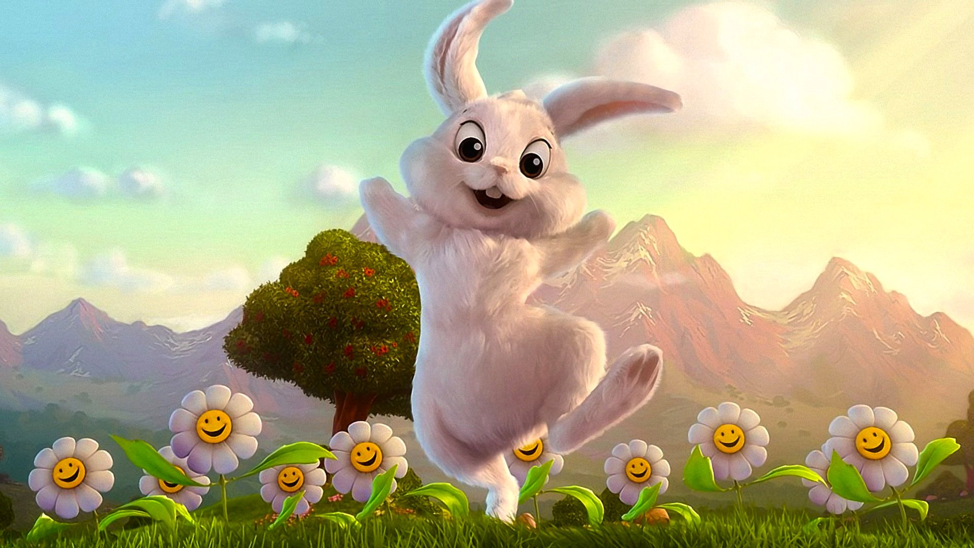 Easter Bunny & Flowers Wallpaper