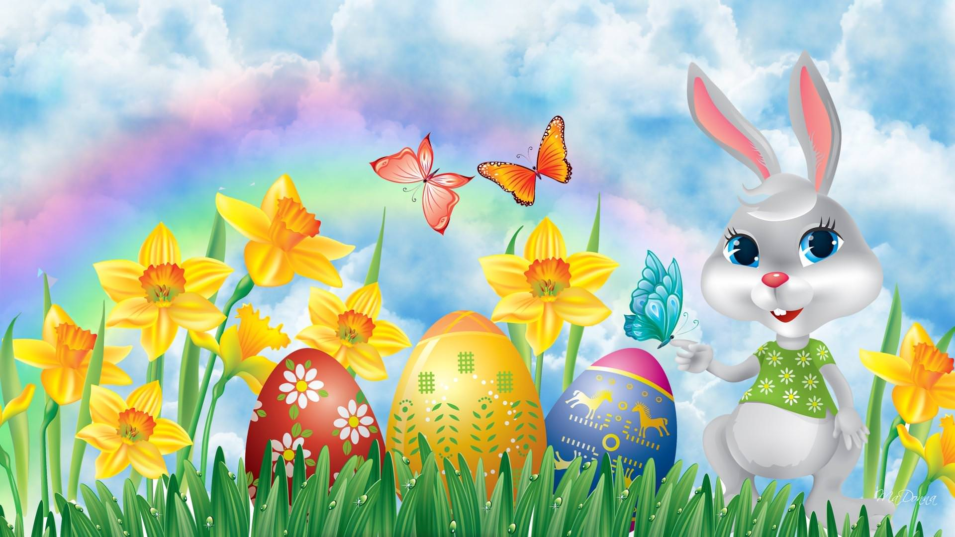 Easter Bunny with Eggs & Daffodils Wallpaper