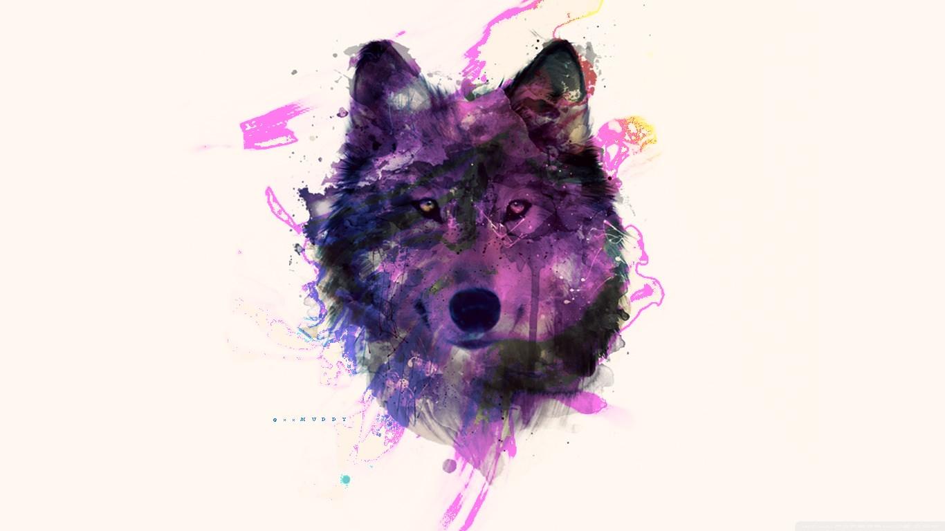 Purple Wolf Background