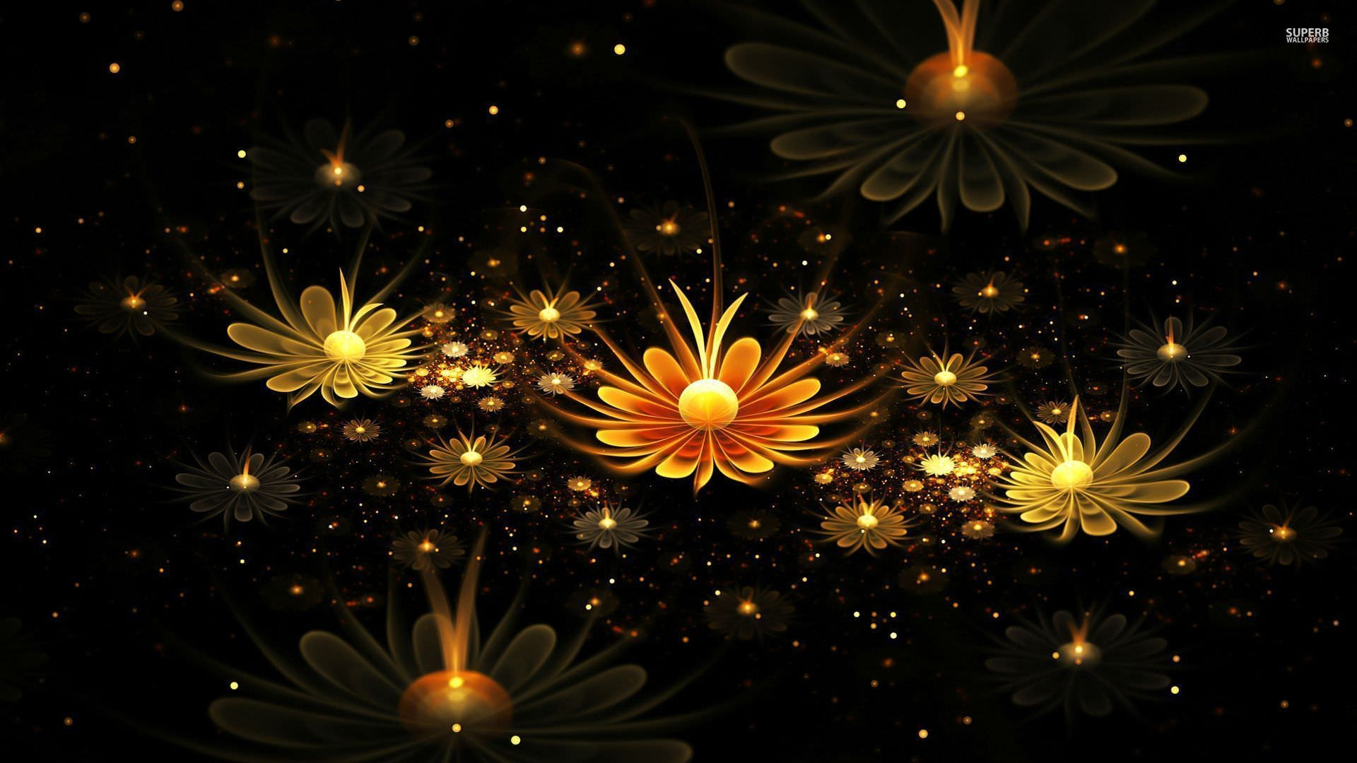 Fractal Glowing Daisies Wallpaper