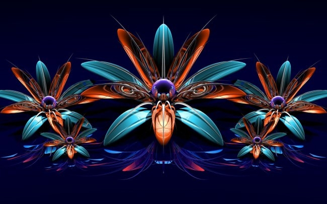 3D Flowers Fractal Art Wallpaper