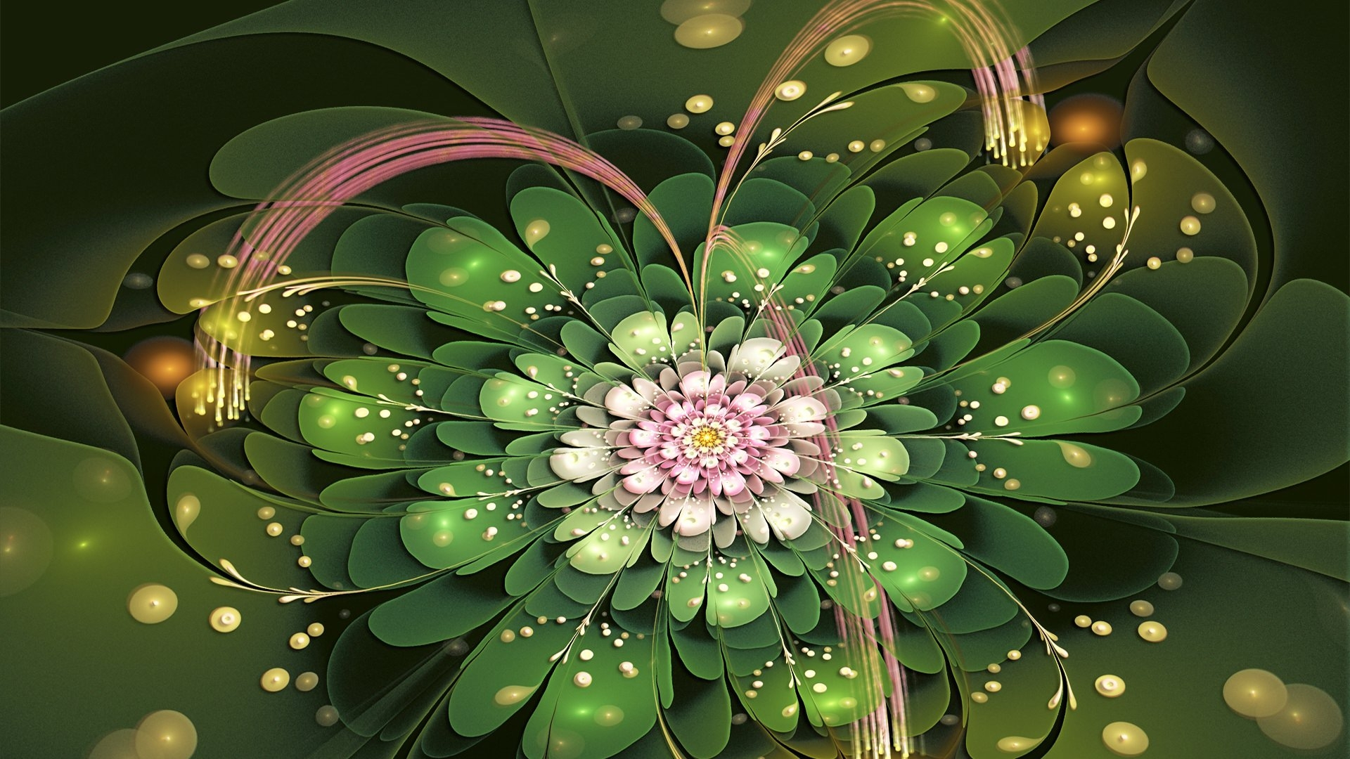 Fractal Flower Petals Green and Pink Wallpaper