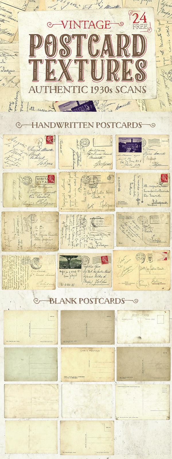 24 Free Authentic 1930s Vintage Postcard Textures