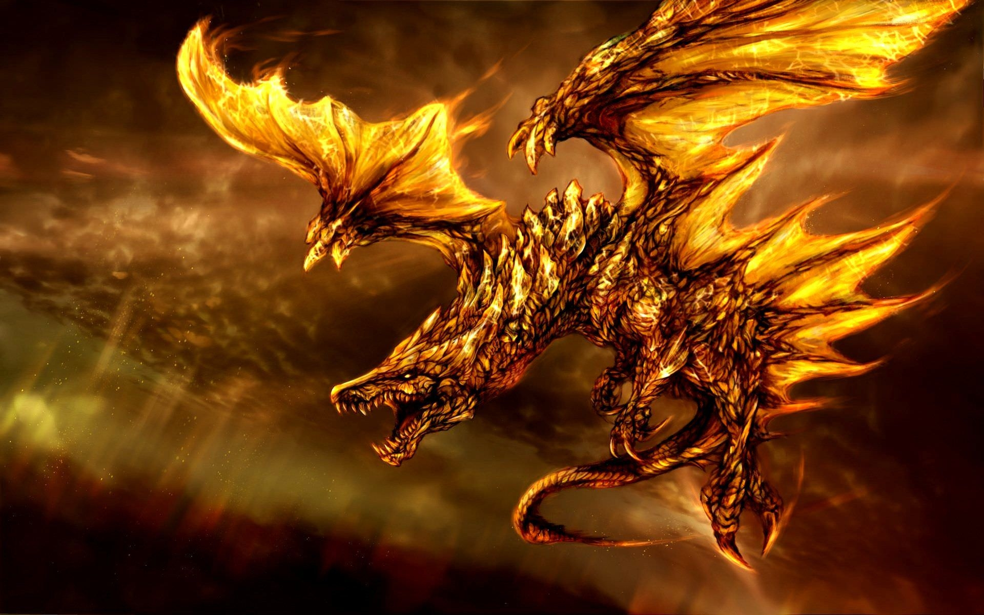 3D Fire Dragon Desktop Wallpaper