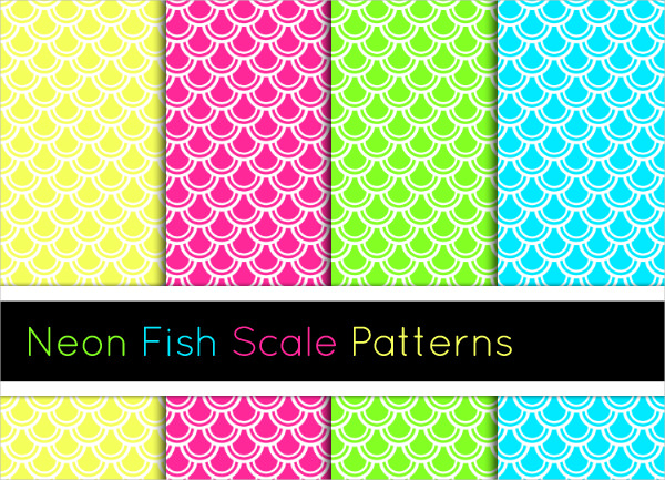 4 Neon Fish Scale Patterns