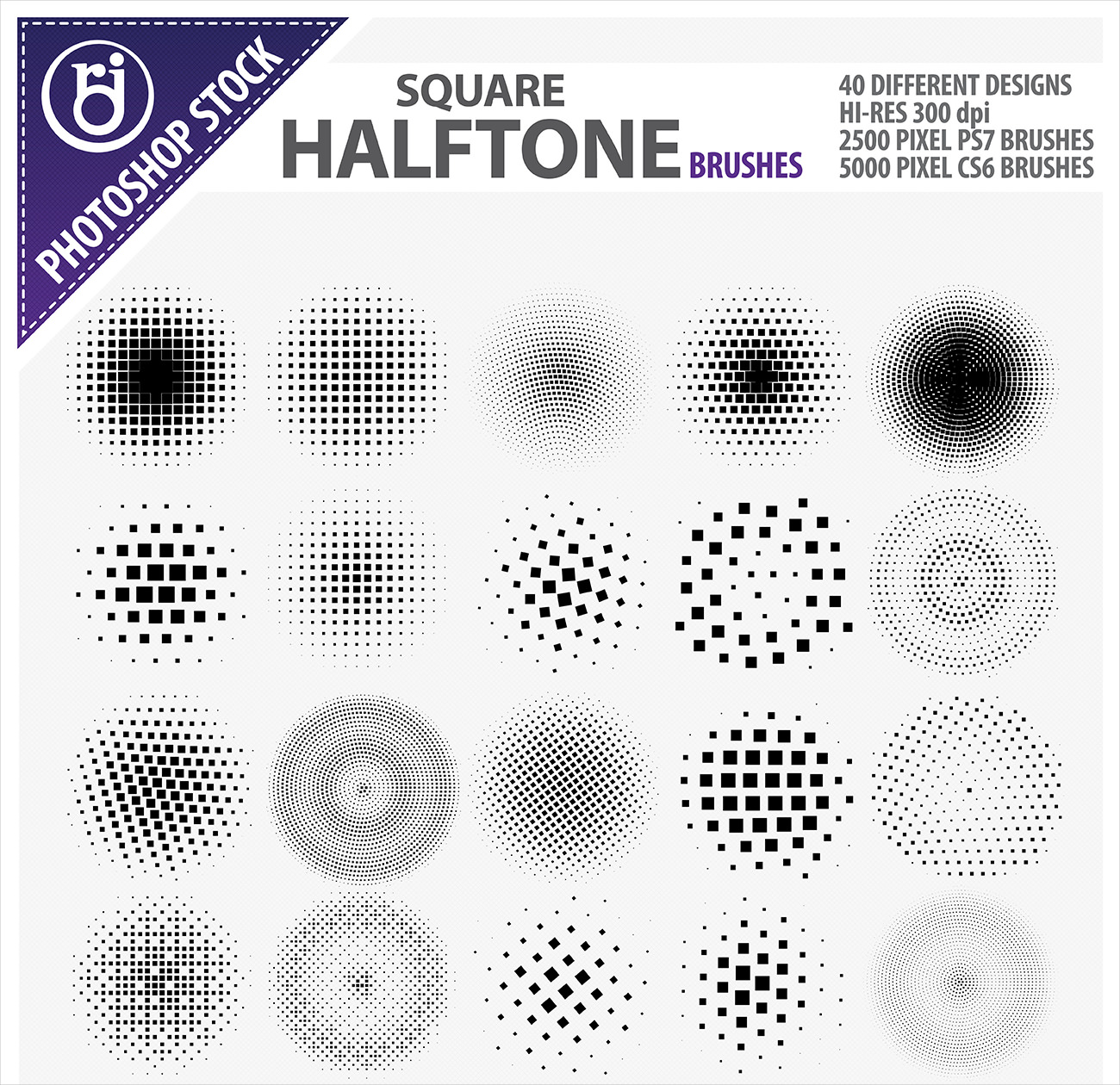40 Free Square Halftone Brushes