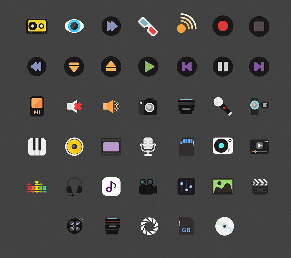 40 Music & Media Icon Set Free