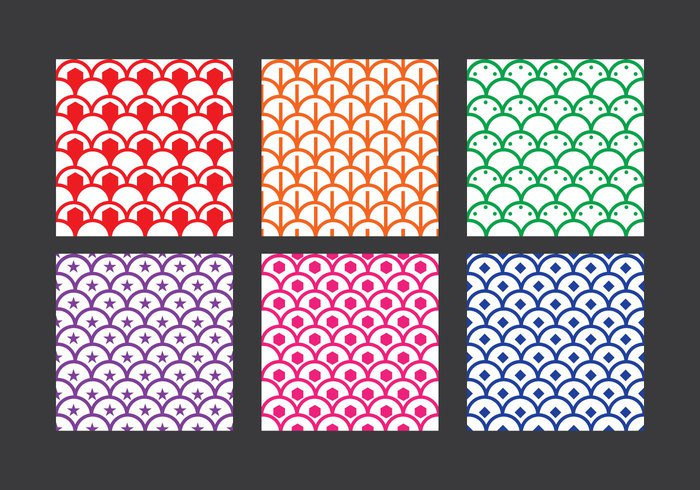 6 Colorful Fish Scales Vector Pattern