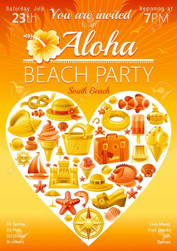 Aloha South Beach Party Invitation
