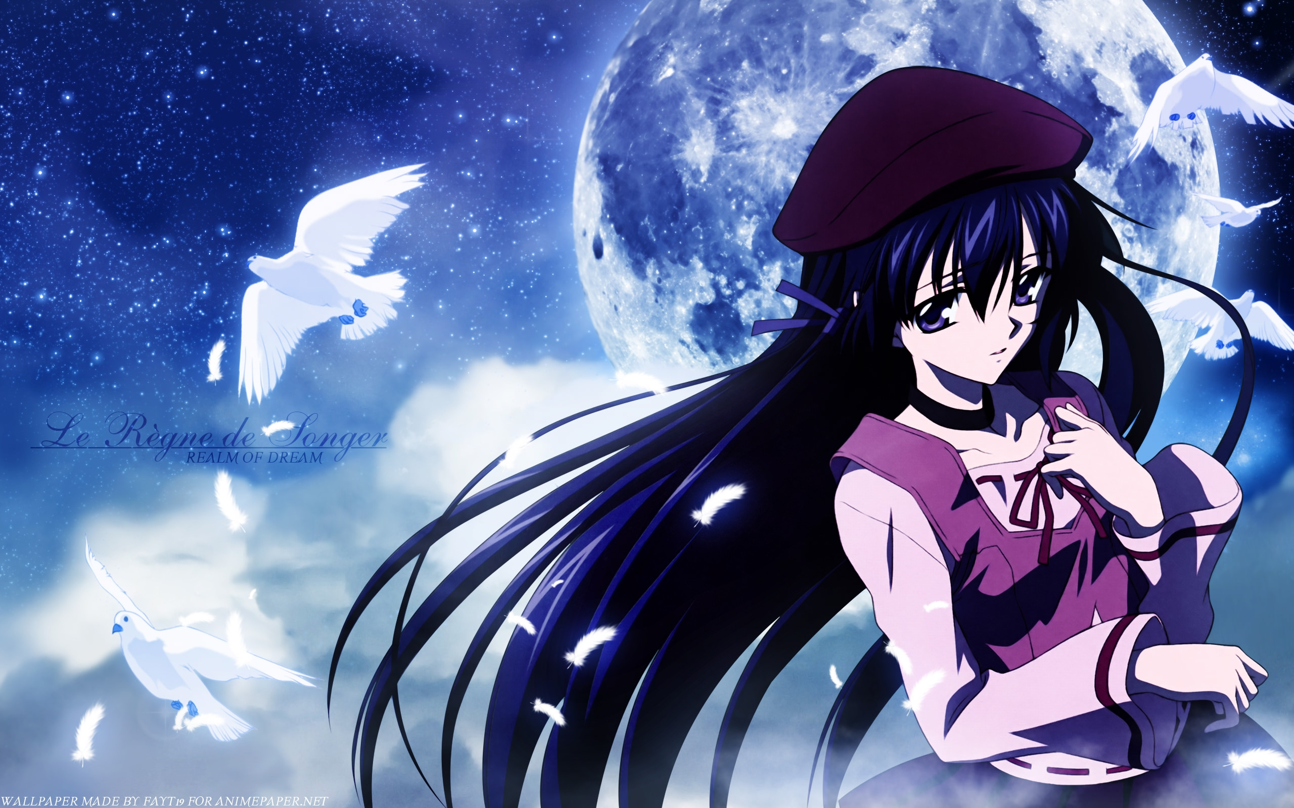 Anime Girl & Moon Background