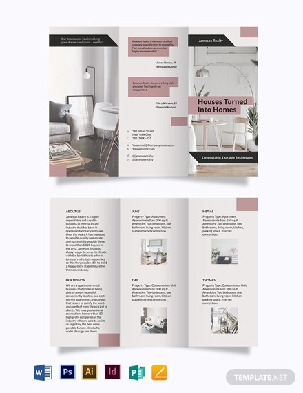 apartment condo community tri fold brochure template