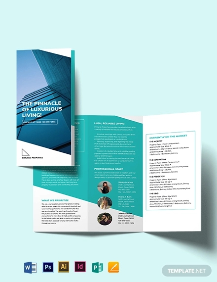 apartment condo marketing tri fold brochure template