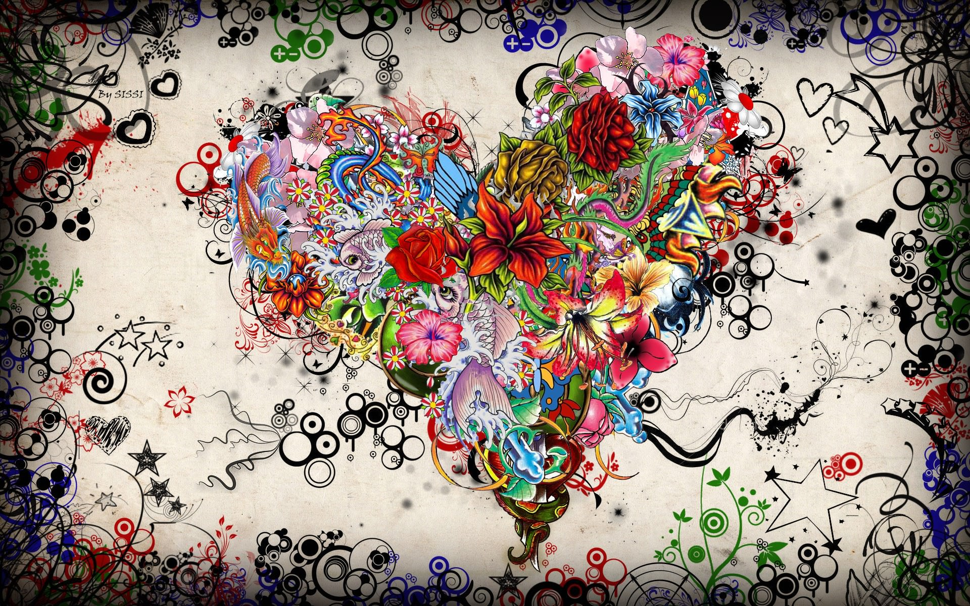 Artistic Heart Psychedelic Wallpaper