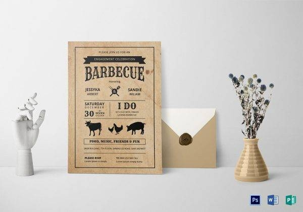 bbq engagement party invitation template 600x420