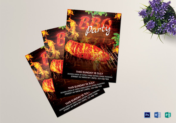 BBQ Party Flyer Template in PSD