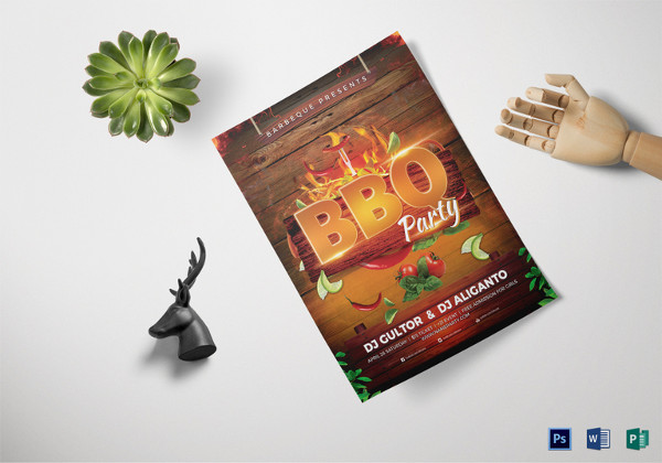 bbq party flyer template in word