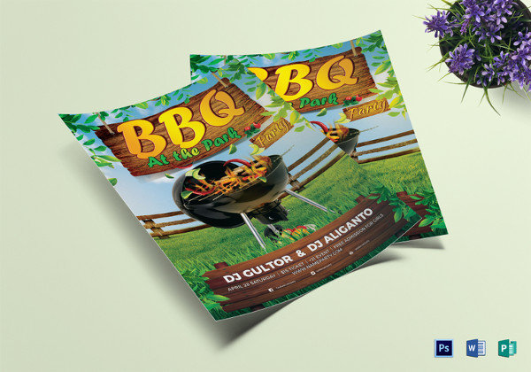 bbq summer party flyer to print