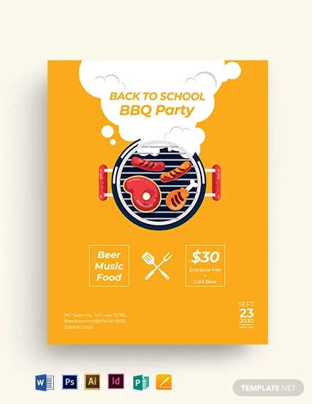 back to school bbq flyer template
