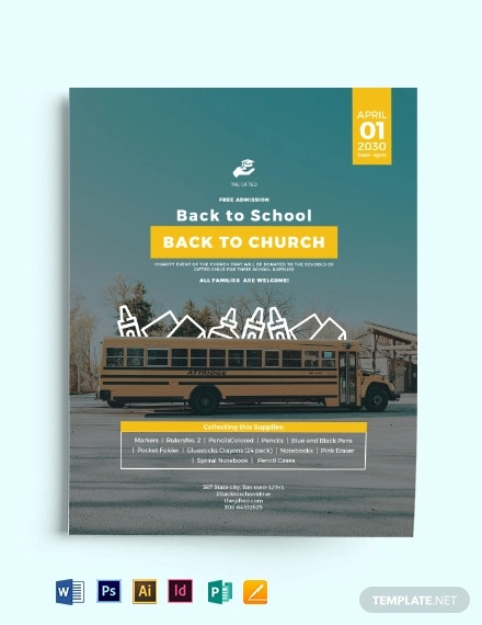 back to school church flyer template